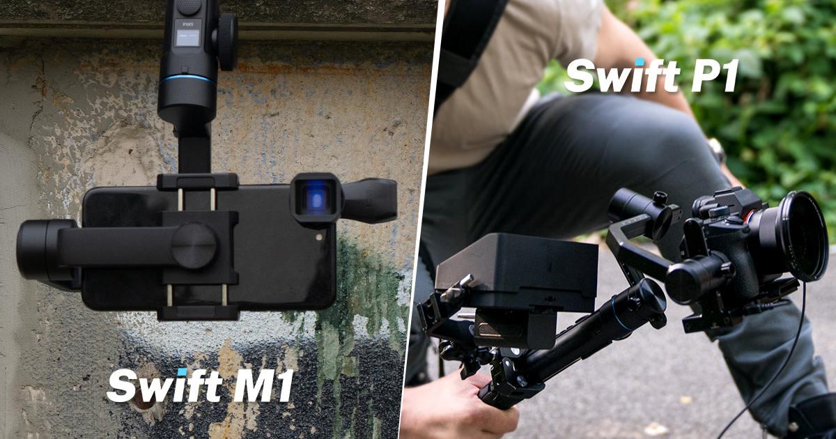 瞬時に動作モードを切り替えられるモード変更ダイヤルが便利な、スマホ&デジタル一眼レフ用ジンバル「Swift M1 and P1」