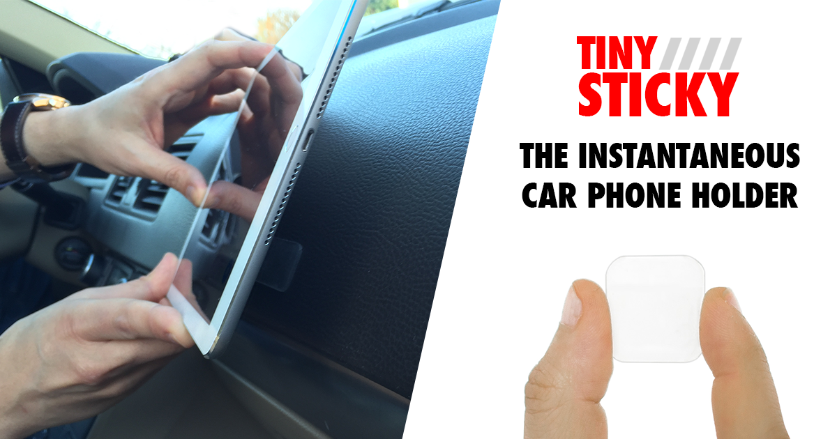 TinySticky - the instantaneous car phone holder