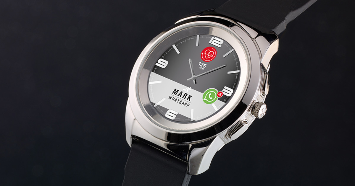 ZeTime: hybrid smartwatch with hands over screen