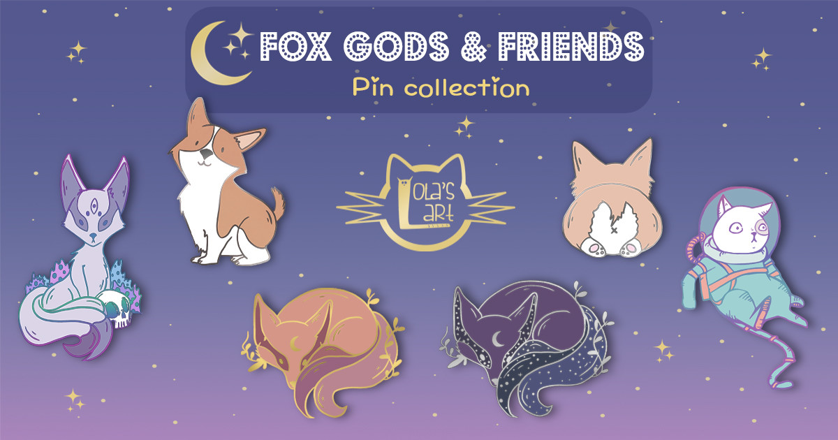 Fox Gods and friends Enamel Pin Collection