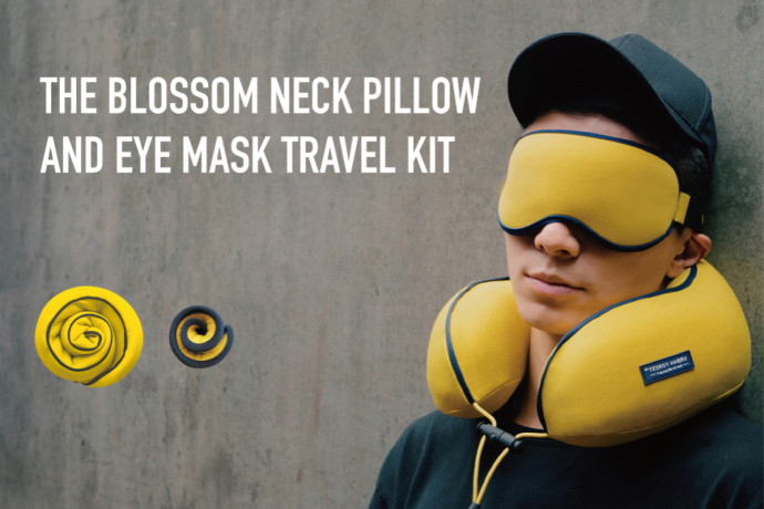 Blossom Ergonomic Neck Pillow &Eye Mask Travel Kit