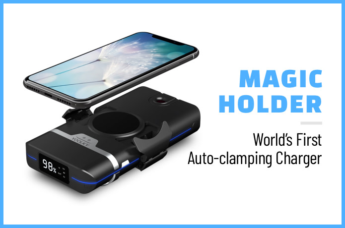 Magic Holder: World's 1st auto-clamping Qi charger