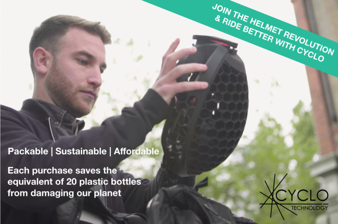 Cyclo: packable helmet made with recycled plastic