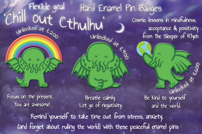 'Chill Out Cthulhu' Hard Enamel Pin Badges