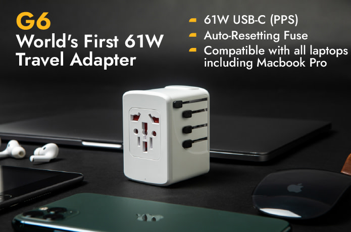 G6: World's First 61W Travel Adapter with GaN