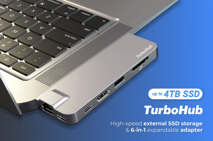TurboHub: World's Fastest SSD & 6-in-1 USB-C Hub