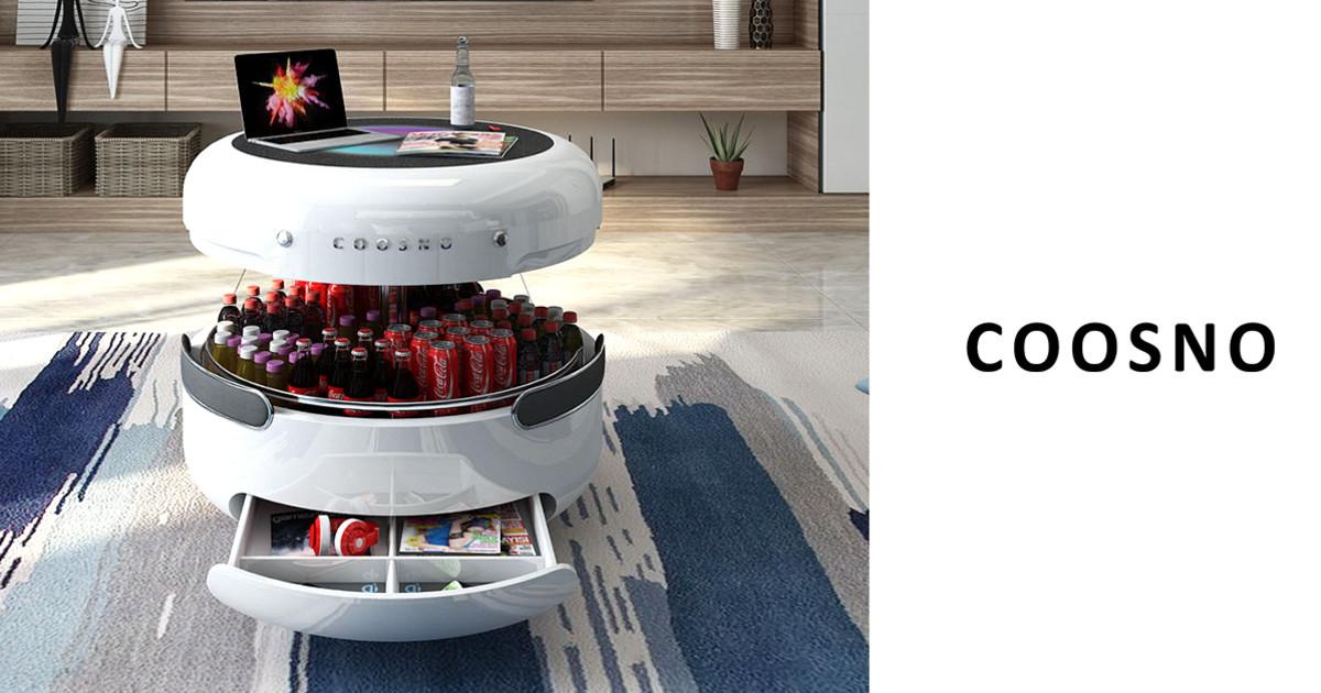 ウィ〜ンとゲート上がったと思ったら出て来たのはエイリアンではなくドリンク….デスクタイプの冷蔵庫「Coosno」