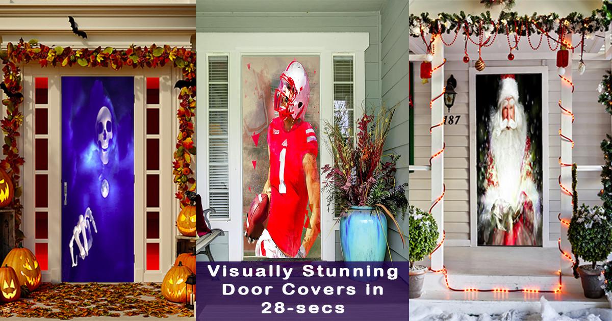 Christmas Door Covers.Doorfoto Stunning Door Covers With 28 Sec Install Indiegogo