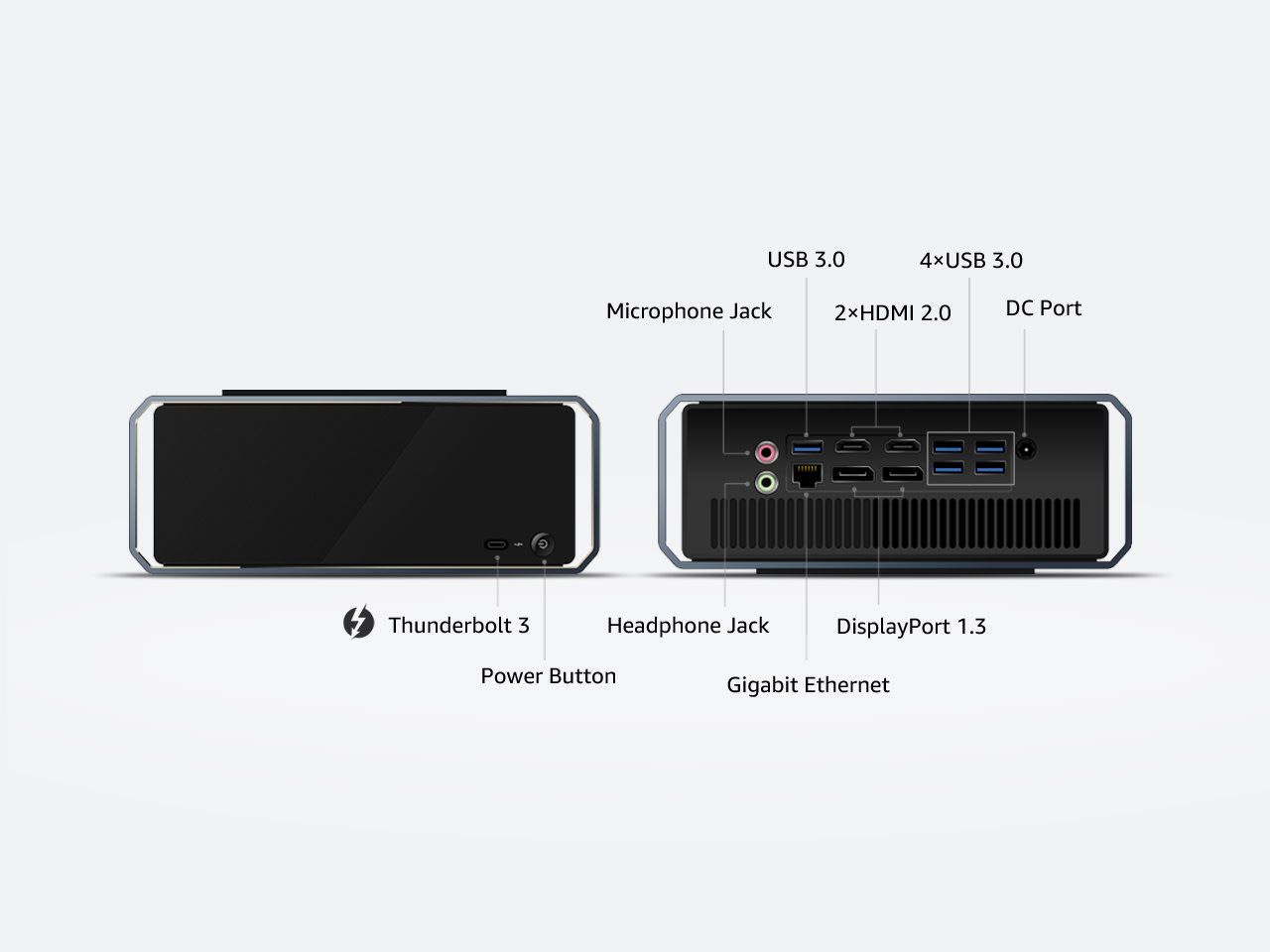Designed with Thunderbolt 3, USB 3.0, Gigabit Ethernet, HDMI 2.0, and DisplayPort 1.3, Chuwi HiGame can equip you with all kinds of connections for different types of peripherals.