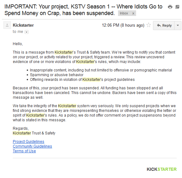 Kickstarter TV: Where Idiots Go to Spend Money on Crap