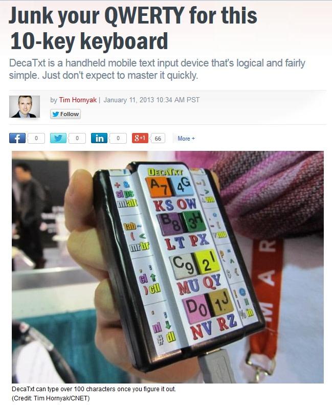 R&D 100 Award winner, DecaTxt one-handed keyboard | Indiegogo