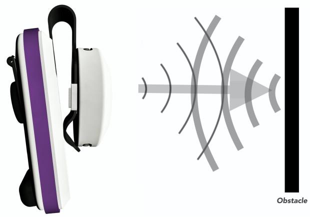 BuzzClip riconosce un ostacolo tramite ultrasuoni