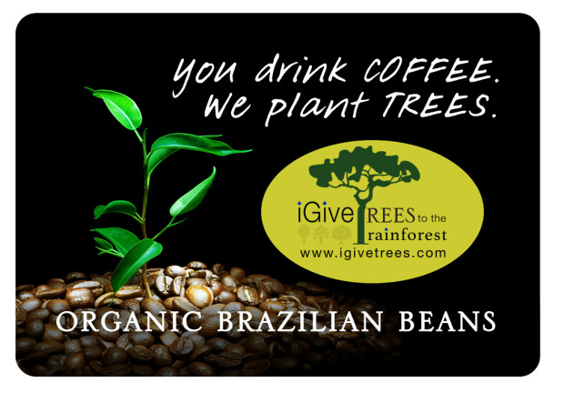 2 - 12 oz bags of organic Brazilian coffee sponsor tree plantings.