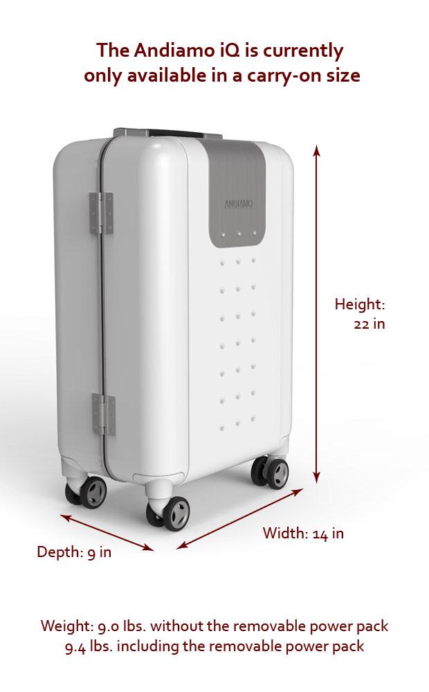 Andiamo iQ Smart Luggage: Wi-Fi, Charger & More | Indiegogo