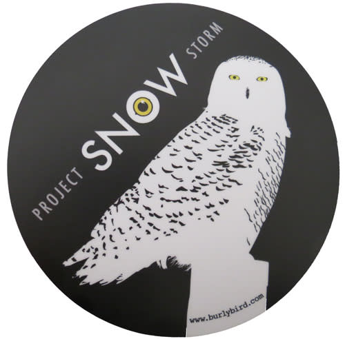 Support us at this level and we will send you 1 burly bird snowy owl sticker and 5 2″x5″ project snowstorm stickers created by burlybird com