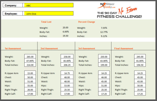 The 90 Day No Excuses Fitness Challenge – Fitness Assessment Form