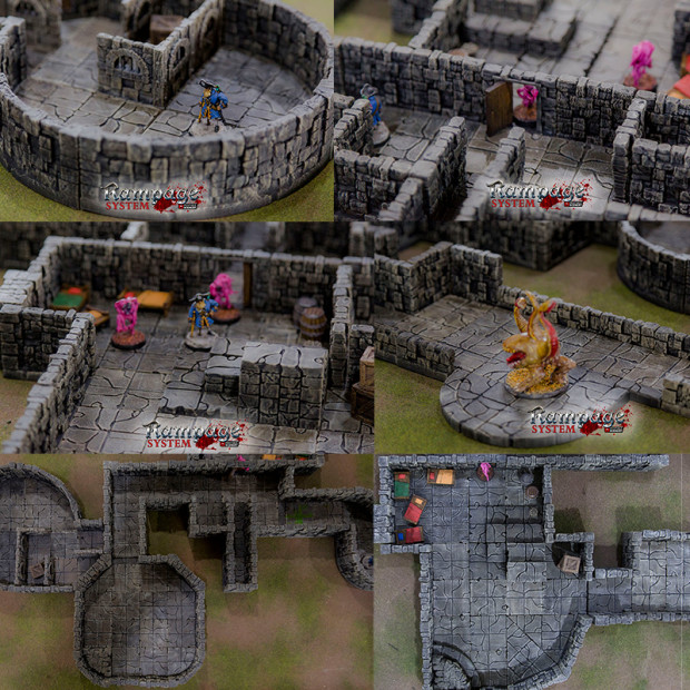 image relating to 3d Printable Dungeon Tiles named RAMPAGE - 3D Printable Surroundings Designing Process - IGG
