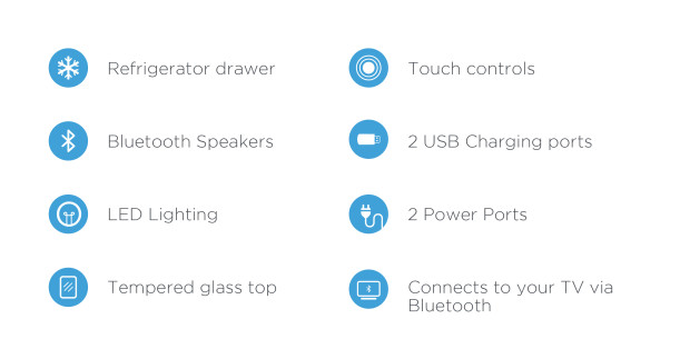 Sobro's list of features include a Refrigerator Drawer, Bluetooth speakers, LED Lighting, both USB ports and actual electrical sockets, and more.