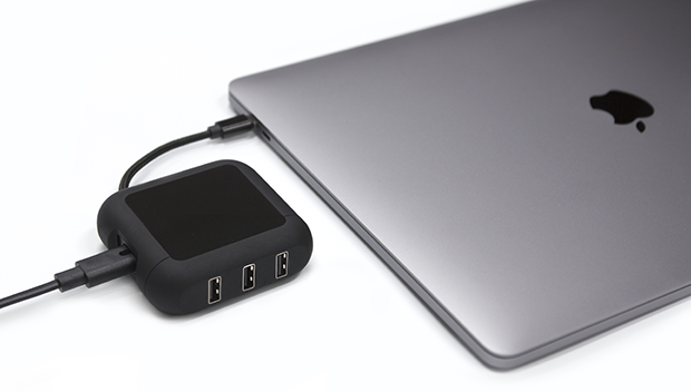 PowerUp's 60W AC power can simultaneously charge your USB-C MacBook and up to 3 USB devices.