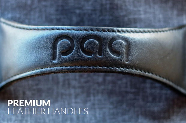 Paq bags have premium leather handles to hold up to your adventures