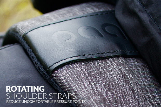 Paq bags shoulder straps use patented rotating buckles to reduce uncomfortable pressure points