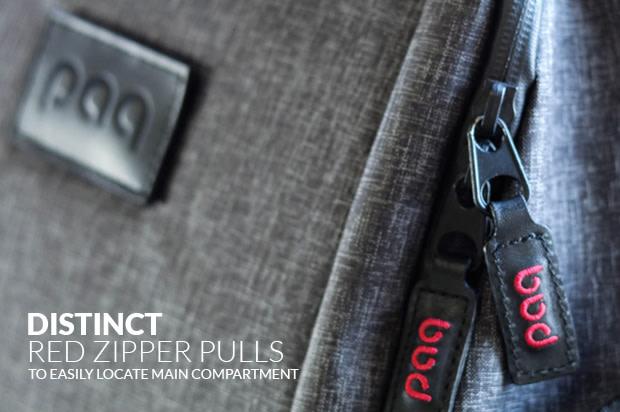 The Paq bag has distinct red zipper pulls