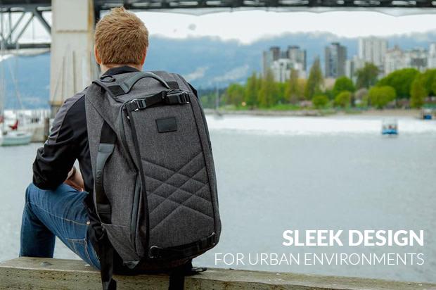 The paq bag has a sleek design for urban environments