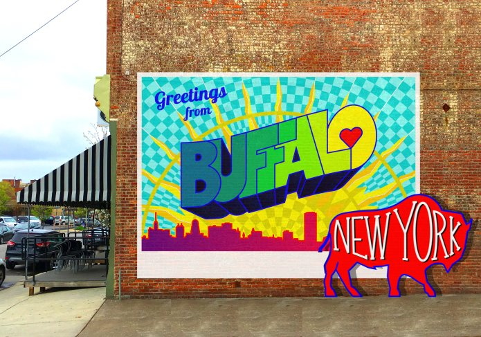 Greetings from buffalo downtown mural project indiegogo for three weeks in august youll see me transform this brick wall outside of the washington market into one of the most colorful murals in the city m4hsunfo