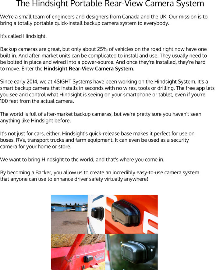 The Hindsight Rear-View Camera System: Simple! | Indiegogo