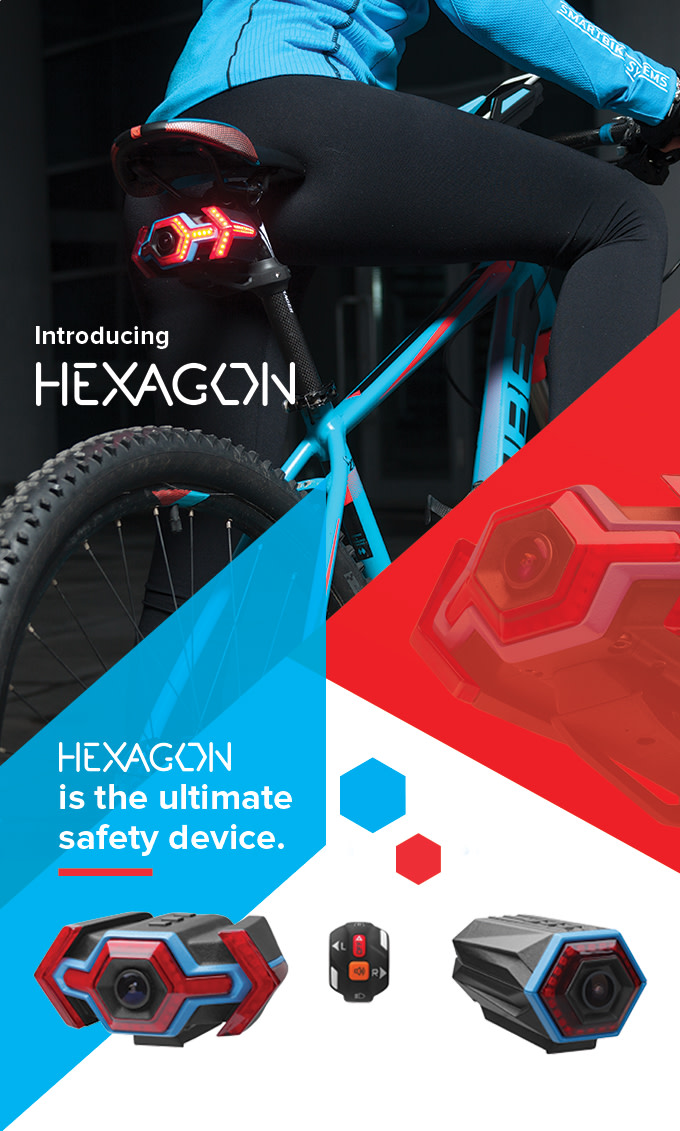 hexagon camera signals sensors for cyclists indiegogo