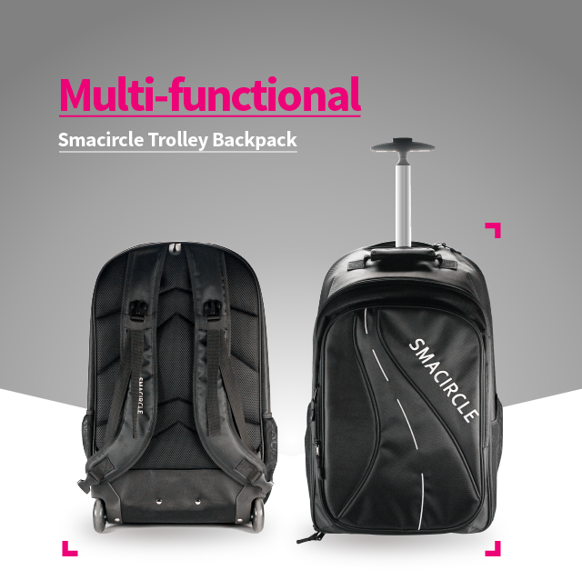 e0296d19f6 The multi-functional Smacircle Trolley Bag perfect for your 1-3 day trips.  Easily put your travel accessories and Smacircle S1 in the backpack.