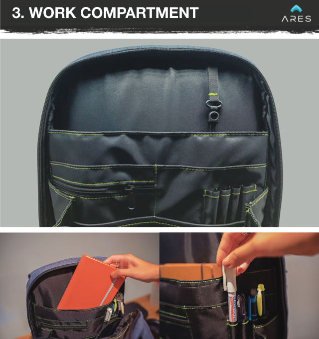 The ARES backpack has compartments for all your office essentials from  power banks, notebooks and external hard drives, to pens, ... d9e5abbdd7