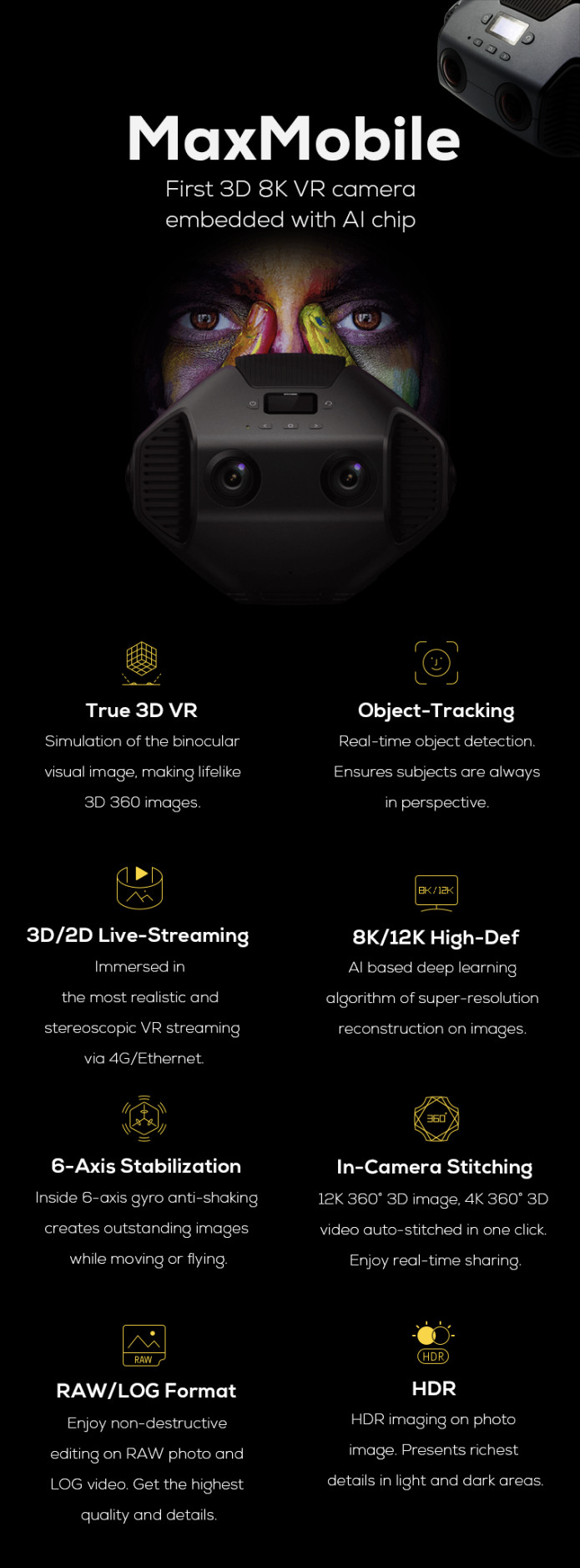 BackIt com - Detu MaxMobile: First 3D 8K 360 VR Camera With AI