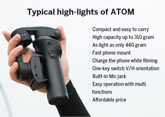 ATOM: A pocket-sized 3-axis smartphone gimbal | Indiegogo