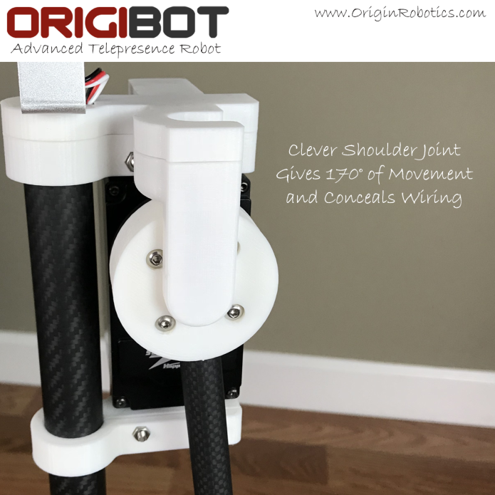 Origin Robotics, Inc., robotics, robot, bots, bot, indiegogo, ORIGIBOT2 Telepresence Robot Platform with Arm & Gripper, ORIGIBOT2 Advanced Carbon Fiber Telepresence Robot Platform with Arm and Gripper