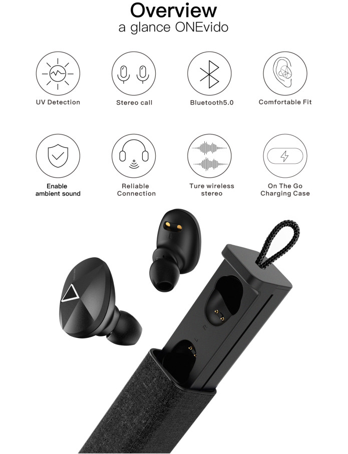 ONEvido- Earbuds with safe ambient & UV detection | Indiegogo