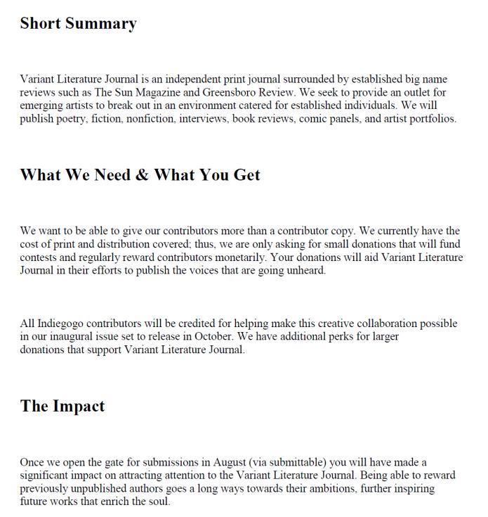 Variant Literature Journal   Indiegogo