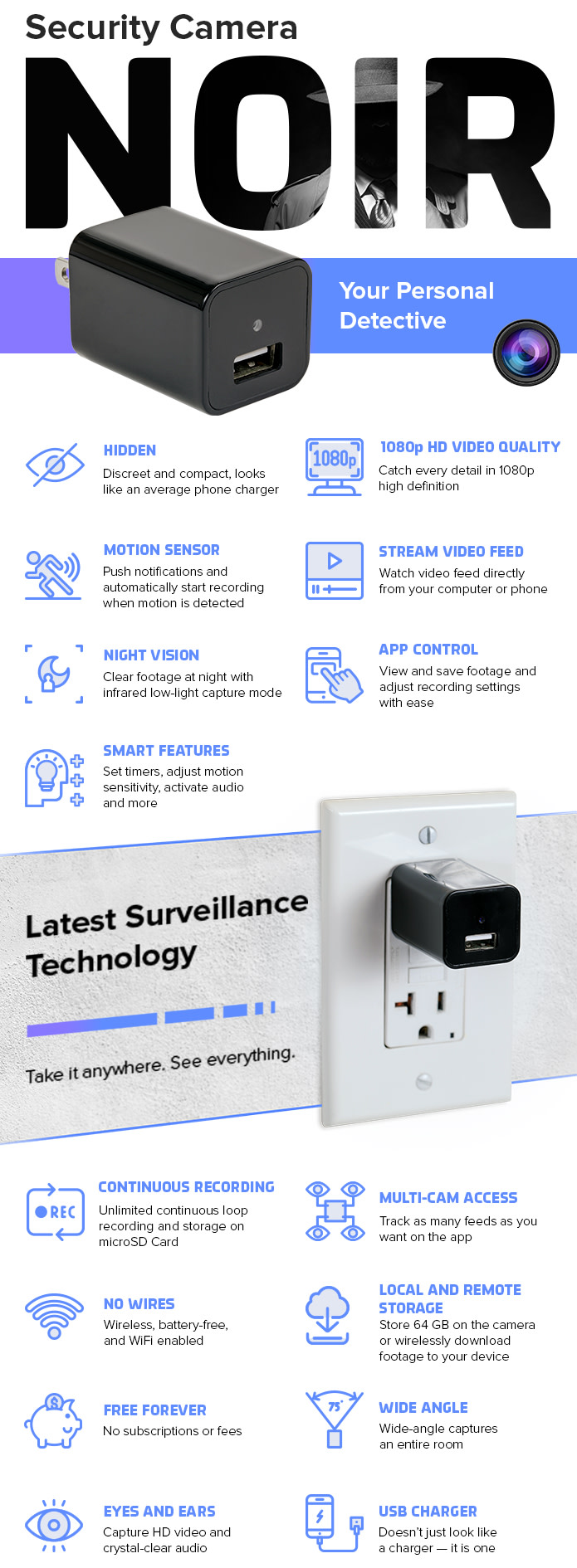 NOIR - Discreet 1080p Security Camera and USB Charger