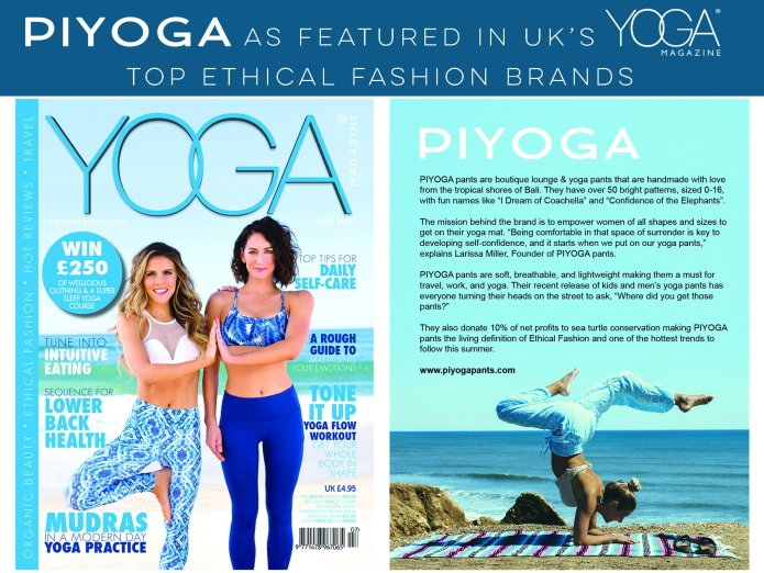 PIYOGA Pants is features in Yoga Magazine a Popular Yoga Magazine