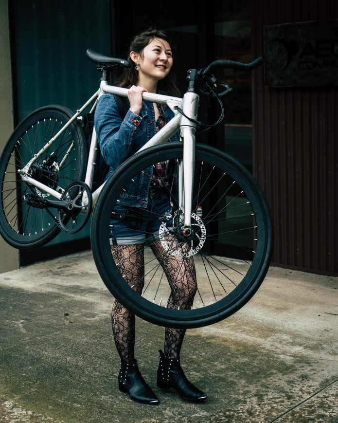 Krystyn carries the FLX Babymaker Electric Bike