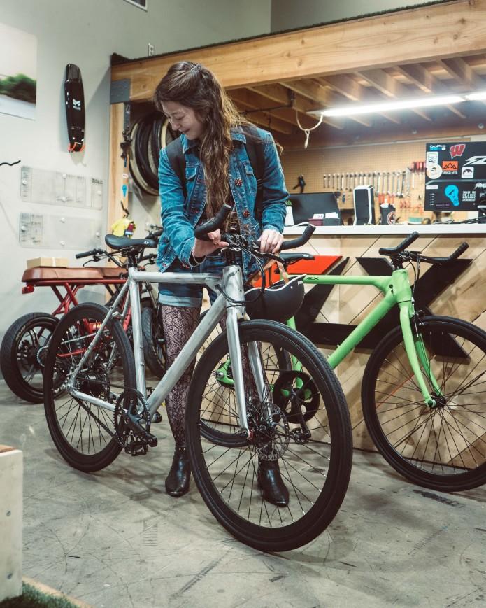 Krystyn with FLX Babymaker Pro Electric Road Bike