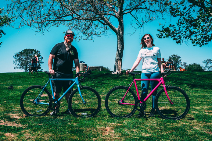 Richard and Elizabeth on the FLX Babymaker Electric Road Bike