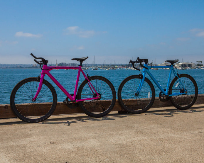 FLX Babymaker Electric Road Bikes in San Diego Harbor