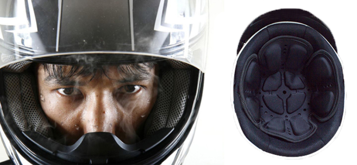 PJ:4D Airbag Infrared Helmet Liner for Safe Riding