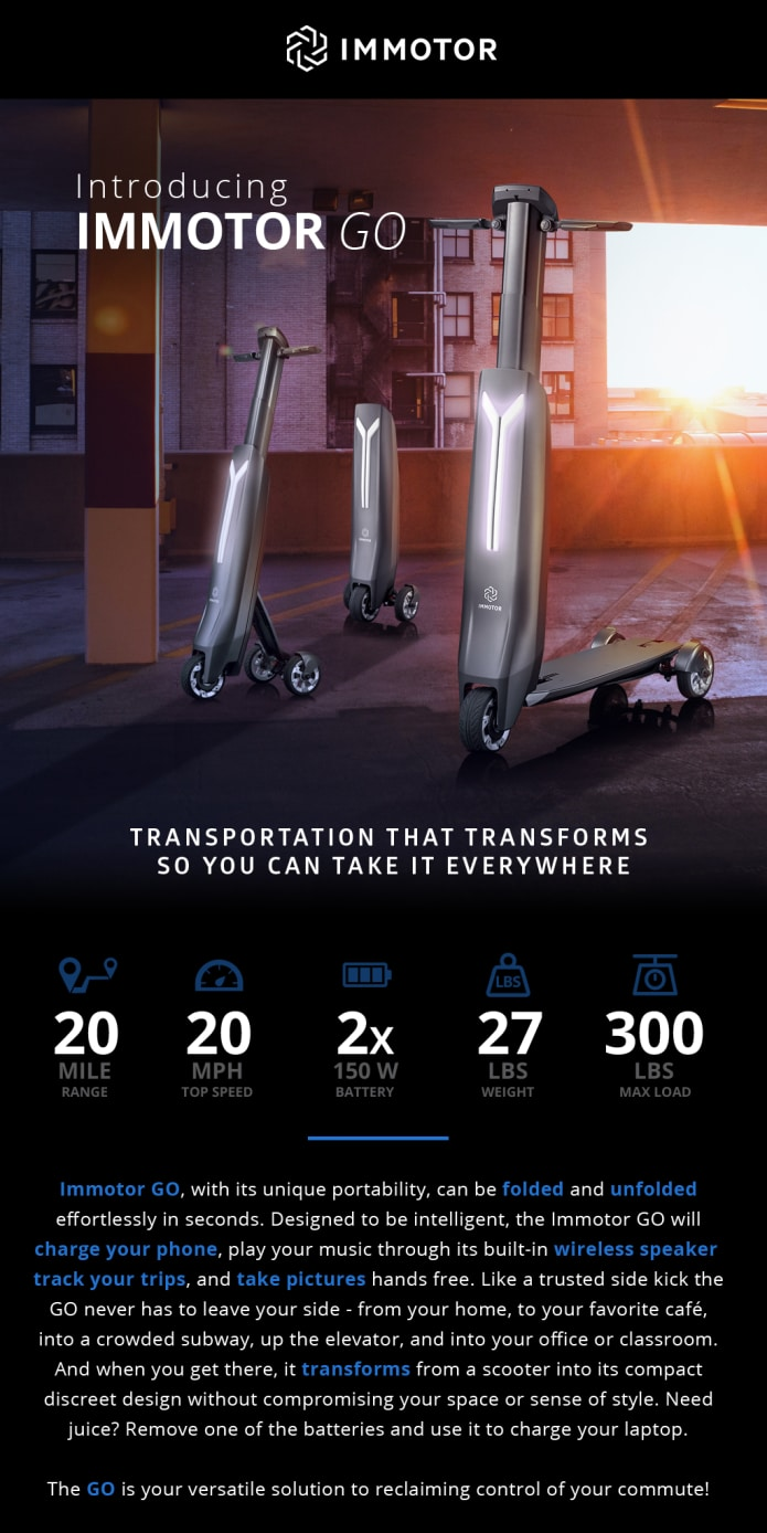 Immotor Go The Most Portable Personal Vehicle Ever Indiegogo