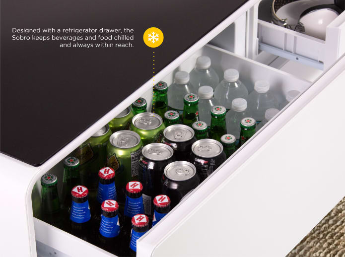 refrigerator table. set the mood or start party with rich deep sound quality. dual speakers on each side of sobro coffee table deliver enhanced and bass. refrigerator z