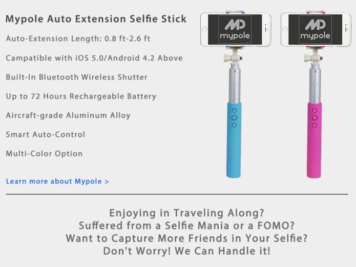 mp mypole smart selfie stick with auto extension indiegogo. Black Bedroom Furniture Sets. Home Design Ideas