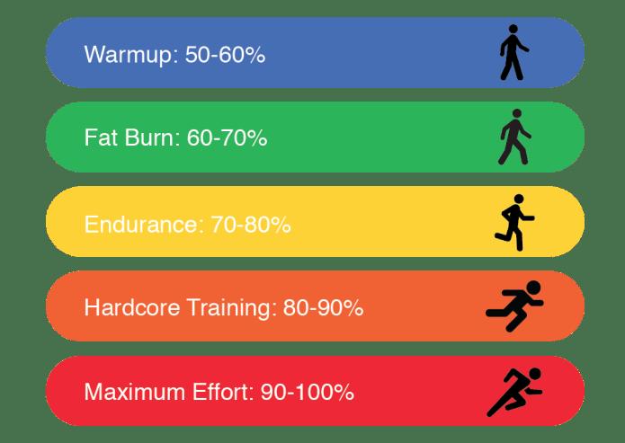 зона разминки или разогрева сжигание жира выносливость силовой тренинг максимальное усилие